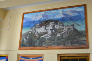 A painting of the Potala, the Dalai Lama's winter home in the capital of Tibet, Lhasa. He hasn't been there since 1959 and today the site is overshadowed by Chinese development as part of an incentive given by the Chinese government